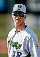20 June 2021: Vermont Lake Monsters outfielder Sky Rahill, from Burlington, VT, awaits the start of play prior to starting in right field against the Westfield Starfires at Centennial Field in Burlington, Vermont. Rahill went 1 for 2 with a walk and a two-run homer in the 8th inning, accounting for all the home team scoring, as the Lake Monsters fell to the Starfires 10-2 at Centennial Field, in Burlington, Vermont. Mandatory Credit: Ed Wolfstein Photo *** RAW (NEF) Image File Available ***