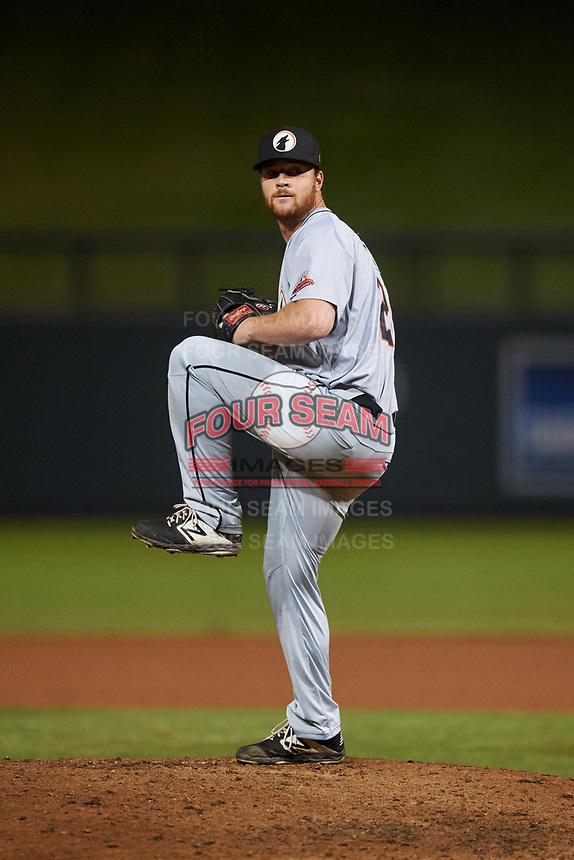 Glendale Desert Dogs relief pitcher Robbie Hitt (28), of the Milwaukee Brewers organization, during an Arizona Fall League game against the Scottsdale Scorpions on September 20, 2019 at Salt River Fields at Talking Stick in Scottsdale, Arizona. Scottsdale defeated Glendale 3-2. (Zachary Lucy/Four Seam Images)