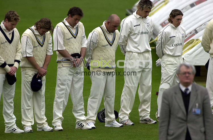 Pix: Simon Wilkinson/SWpix.com Yorkshire Cricket. Season 2004. Frizzell County Championship. 21/04/2004. Day One Yorkshire v Essex...COPYRIGHT PICTURE>>SIMON WILKINSON>>01943 608782>>..minutes silence for Robert Mills