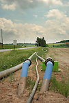 Frack water pipes along rural road, Chief Oil and Gas, Lycoming County, Pennsylvania..........................................