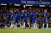22nd September 2021; Stamford Bridge, Chelsea, London, England; EFL Cup football, Chelsea versus Aston Villa; Chelsea players celebrate after Marvelous Nakamba of Aston Villa misses a penalty during the penalty shootout