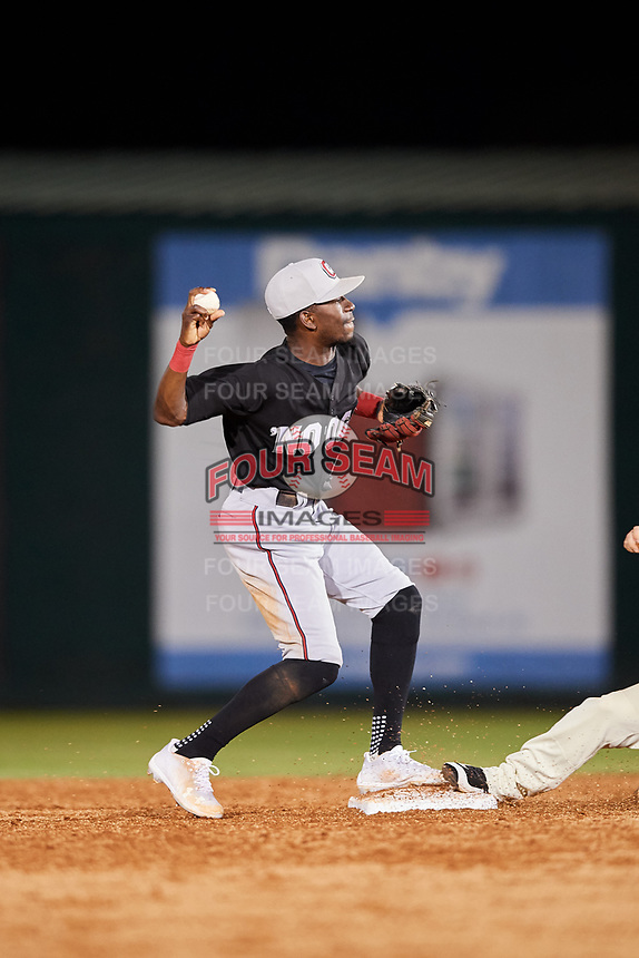 Chattanooga Lookouts shortstop Nick Gordon (1) attempts to turn a double play during a game against the Mobile BayBears on May 5, 2018 at Hank Aaron Stadium in Mobile, Alabama.  Chattanooga defeated Mobile 11-5.  (Mike Janes/Four Seam Images)