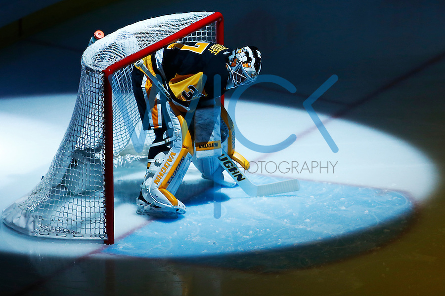 Jeff Zatkoff #37 of the Pittsburgh Penguins stands in net prior to game one of the first round of the Stanley Cup Playoffs against the New York Rangers at Consol Energy Center in Pittsburgh, Pennsylvania on April 13, 2016. (Photo by Jared Wickerham / DKPS)