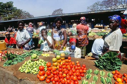 Chisimba Falls, Zambia. Market scene; men and women selling fresh vegetables; okra, tomatoes, onions, etc.