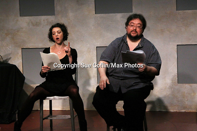 """Amanda Sayle and One Life To Live's Scott Sickles (writer OLTL and Artistic Director WorkShop Theatre Co) star in """"Verbatim Verboten - NYC"""" on October 18, 2010 at the WorkShop Theater, NYC. (Photo by Sue Coflin/Max Photos)"""