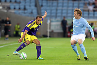 Thursday 08 August 2013<br /> Pictured L-R: Ashley Richards of Swansea against Emil Forsberg of Malmo. <br /> Re: Malmo FF v Swansea City FC, UEFA Europa League 3rd Qualifying Round, Second Leg, at the Swedbank Stadium, Malmo, Sweden.