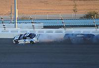 Feb 7, 2009; Daytona Beach, FL, USA; ARCA RE/MAX Series driver Bobby Gerhart (5) crashes after blowing a tire during the Lucas Oil Slick Mist 200 at Daytona International Speedway. Mandatory Credit: Mark J. Rebilas-
