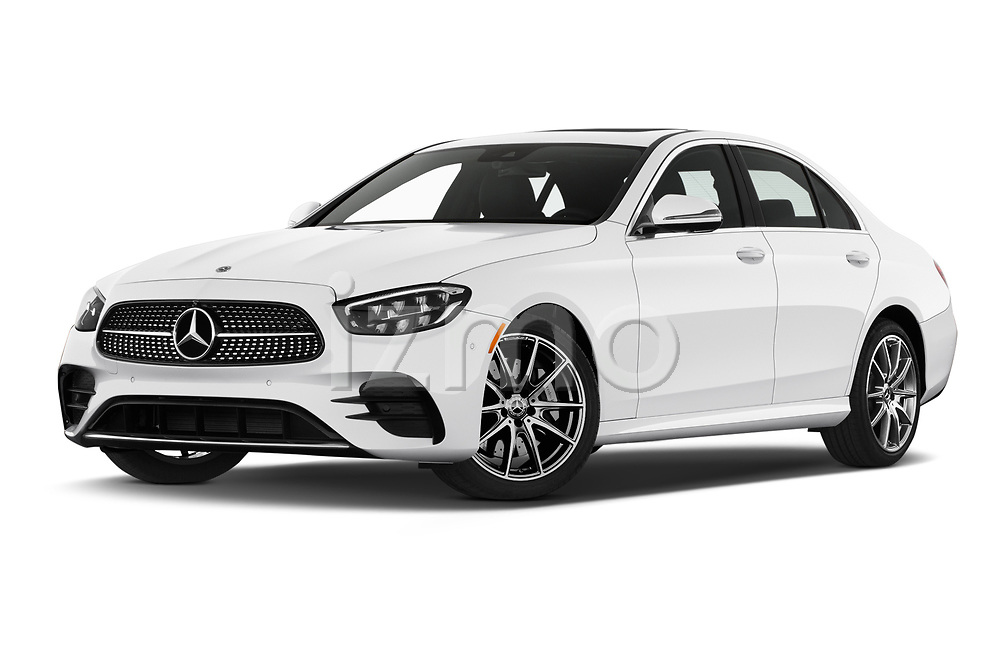 Low aggressive front three quarter view of a 2021 Mercedes Benz E Class AMG Line 2 Door Coupe