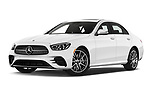 Stock pictures of low aggressive front three quarter view of 2021 Mercedes Benz E-Class-Sedan E350 4 Door Sedan Low Aggressive