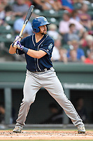 Shortstop Ryan Metzler (27) of the Asheville Tourists bats in a game against the Greenville Drive on Wednesday, August 2, 2017, at Fluor Field at the West End in Greenville, South Carolina. Greenville won, 1-0. (Tom Priddy/Four Seam Images)
