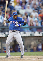 04 October 2009: Texas Rangers third baseman #6 Esteban German avoids a  Felix Hernandez inside pitch thrown inside during his 5th inning at bat.  Seattle won 4-3 over the Texas Rangers at Safeco Field in Seattle, Washington.