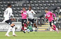 1st May 2021; Liberty Stadium, Swansea, Glamorgan, Wales; English Football League Championship Football, Swansea City versus Derby County; Jamal Lowe of Swansea City and Nathan Byrne of Derby County challenge for the ball