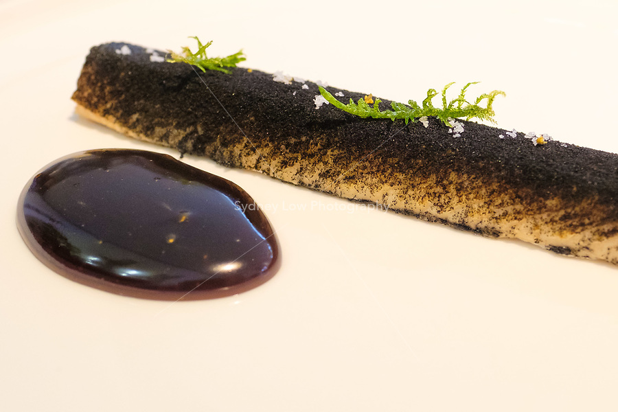 The dish of char, ash and rape seed oil at the einsunternull restaurant in Berlin by Ivo Ebert and Chef Andreas Rieger. Photo Sydney Low
