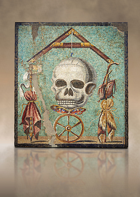 """Roman mosaic of a skull called """"Mimento Mori"""" from Pompeii, inv 100982, Naples National Archeological Museum,  Art background"""