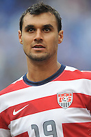 Chris Wondolowski (19) of the USMNT during the presenation of the team.  The USMNT defeated El Salvador 5-1 at the quaterfinal game of the Concacaf Gold Cup, M&T Stadium, Sunday July 21 , 2013.