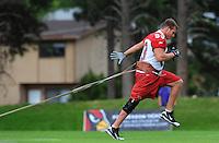 Jul 31, 2009; Flagstaff, AZ, USA; Arizona Cardinals tight end Stephen Spach does a running drill during training camp on the campus of Northern Arizona University. Mandatory Credit: Mark J. Rebilas-