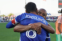 SAN JOSE, CA - AUGUST 8: Judson Silva Tavares #93 celebrates with Chris Wondolowski #8 of the San Jose Earthquakes after a game between Los Angeles FC and San Jose Earthquakes at PayPal Park on August 8, 2021 in San Jose, California.