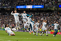 01.05.2018, Football UEFA Champions League 2017/2018, semi final  Rueckspiel, Real Madrid - FC Bayern Muenchen, Bernabeu-stadium Madrid. celebration  Madrillenen. Marcelo (Real Madrid), Sergio Ramos (Real Madrid), Dani Ceballos (Real Madrid),  o Fernandez (Real Madrid), Raphael Varane (Real Madrid). *** Local Caption *** © pixathlon<br /> <br /> Contact: +49-40-22 63 02 60 , info@pixathlon.de