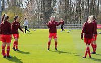 Sophie Cobussen (22) of Standard pictured during the warm up before a female soccer game between Standard Femina de Liege and Club Brugge YLA on the 2nd matchday in play off 1 of the 2020 - 2021 season of Belgian Scooore Womens Super League , saturday 17 th of April 2021  in Angleur , Belgium . PHOTO SPORTPIX.BE | SPP | SEVIL OKTEM