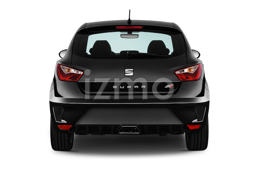 Straight rear view of 2016 Seat Ibiza-SC Cupra 5 Door Hatchback Rear View  stock images