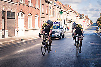 Luke Durbridge (AUS/Mitchelton-Scott) checking with Luka Mezgec (SVN/Mitchelton Scott) what's wrong...<br /> <br /> 82nd Gent-Wevelgem in Flanders Fields 2020 (1.UWT)<br /> 1 day race from Ieper to Wevelgem (232km)<br /> <br /> ©kramon