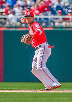 21 June 2015: Washington Nationals shortstop Ian Desmond gets the second out of the 9th inning during game action against the Pittsburgh Pirates at Nationals Park in Washington, DC. The Nationals defeated the Pirates 9-2 to sweep their 3-game weekend series, and improve their record to 37-33. Mandatory Credit: Ed Wolfstein Photo *** RAW (NEF) Image File Available ***
