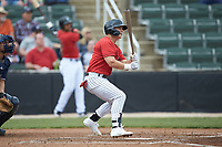 Steele Walker (6) of the Kannapolis Intimidators follows through on his swing against the Rome Braves at Kannapolis Intimidators Stadium on April 7, 2019 in Kannapolis, North Carolina. The Intimidators defeated the Braves 2-1. (Brian Westerholt/Four Seam Images)