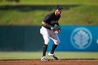 Kannapolis Intimidators shortstop Lenyn Sosa (2) on defense against the Hickory Crawdads at Kannapolis Intimidators Stadium on May 6, 2019 in Kannapolis, North Carolina. The Crawdads defeated the Intimidators 2-1 in game one of a double-header. (Brian Westerholt/Four Seam Images)