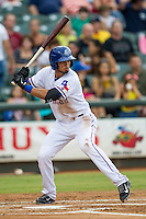 Round Rock Express shortstop Luis Sardinas (15) at bat during the Pacific Coast League baseball game against the Oklahoma City RedHawks on August 1, 2014 at the Dell Diamond in Round Rock, Texas. The Express defeated the RedHawks 6-5. (Andrew Woolley/Four Seam Images)