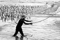 FISHERMAN CASTING HIS NET CHUUK, MICRONESIA, PACIFIC