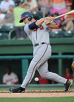 Catcher Evan Gattis (36) of the Rome Braves, Class A affiliate of the Atlanta Braves, in a game against the Greenville Drive on July 18, 2011, at Fluor Field at the West End in Greenville, South Carolina. (Tom Priddy/Four Seam Images)