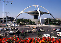 The famous 'Spider' aircraft control tower at LAX airport. Los Angeles, California.