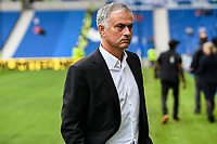 Jose Mourinho Manager of Manchester United  looking moody before the Premier League match between Brighton and Hove Albion and Manchester United at the American Express Community Stadium, Brighton and Hove, England on 19 August 2018. Photo by Edward Thomas / PRiME Media Images.