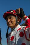 AUG 7,2014:Wildling,ridden by Rafael Bejarano,wins the maiden race,5R at Del Mar in Del Mar,CA.The winning jockey,Rafael Bejarano. Kazushi Ishida/ESW/CSM