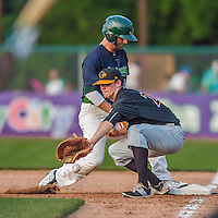 12 July 2015: West Virginia Black Bears first baseman Albert Baur in action against the Vermont Lake Monsters at Centennial Field in Burlington, Vermont. The Lake Monsters rallied to defeat the Black Bears 5-4 in NY Penn League action. Mandatory Credit: Ed Wolfstein Photo *** RAW Image File Available ****