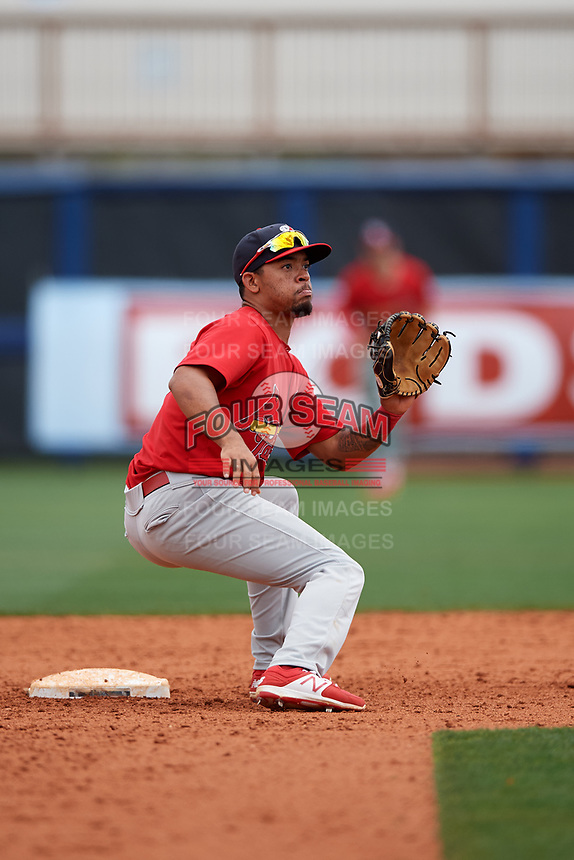 Palm Beach Cardinals shortstop Edmundo Sosa (3) waits to receive a throw during a game against the Charlotte Stone Crabs on April 12, 2017 at Charlotte Sports Park in Port Charlotte, Florida.  Palm Beach defeated Charlotte 8-7 in ten innings.  (Mike Janes/Four Seam Images)