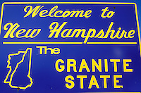 New Hampshire, NH, New Hampshire Welcome Sign. Welcome to New Hampshire, The Granite State.