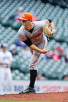 Sam Houston State Bearkats starting pitcher Tyler Eppler #36 follows through on his delivery against the Texas Christian Horned Frogs at Minute Maid Park on February 28, 2014 in Houston, Texas.  The Bearkats defeated the Horned Frogs 9-4.  (Brian Westerholt/Four Seam Images)
