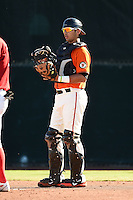 San Francisco Giants catcher Rene Melendez (9) during an Instructional League game against the SK Wyverns on October 14, 2014 at Giants Baseball Complex in Scottsdale, Arizona.  (Mike Janes/Four Seam Images)