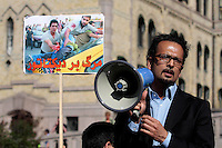 Iranian human rights activist Mahmood Amiry-Moghaddam speak during a demonstration in Oslo, Norway, following the election in Iran. A protest arranged by Amnesty International Norway was held in front of the Norwegian Parliament, before Iranian diaspora and others marched to the Iranian embassy to continue their protest. .©Fredrik Naumann/Felix Features.