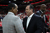 RALEIGH, NC - JANUARY 9: Head coach Mike Brey of the University of Notre Dame shakes hands with head coach Kevin Keatts of North Carolina State University during a game between Notre Dame and NC State at PNC Arena on January 9, 2020 in Raleigh, North Carolina.