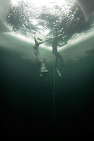 Elisabeth Kristoffersen (Norway) .Freediving competition Oslo Ice Challenge at freshwater lake Lutvann outside the Norwegian capital Oslo.