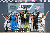 #86 Meyer Shank Racing w/ Curb-Agajanian Acura NSX GT3, GTD: Mario Farnbacher, Trent Hindman, #14 AIM Vasser Sullivan Lexus RC F GT3, GTD: Richard Heistand, Jack Hawksworth, #48 Paul Miller Racing Lamborghini Huracan GT3, GTD: Bryan Sellers, Ryan Hardwick, podium