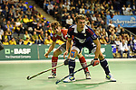 Berlin, Germany, January 31: During the 1. Bundesliga Herren Hallensaison 2014/15 semi-final hockey match between Rot-Weiss Koeln (dark blue) and Club an der Alster (red) on January 31, 2015 at the Final Four tournament at Max-Schmeling-Halle in Berlin, Germany. Final score 4-3 (2-2). (Photo by Dirk Markgraf / www.265-images.com) *** Local caption *** Constantin Staib #11 of Club an der Alster, Mathias Mueller #27 of Rot-Weiss Koeln