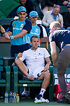 March 8, 2019: Daniel Evans (GBR) has a medical timeout during his match where he was defeated by Stan Wawrinka (SUI) 6-7, 6-3, 6-3 at the BNP Paribas Open at the Indian Wells Tennis Garden in Indian Wells, California. ©Mal Taam/TennisClix/CSM