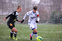 Margaux Van Ackere  (37) of Eendracht Aalst and Isabelle Iliano (18) of Club Brugge in action pictured during a friendly female soccer game between SC Eendracht Aalst and Club Brugge YLA on Saturday 16 January 2021 at Zandberg Youth Complex in Aalst , Belgium . PHOTO SPORTPIX.BE   SPP   SEVIL OKTEM