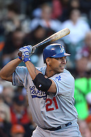 SAN FRANCISCO, CA - SEPTEMBER 9:  Juan Rivera #21 of the Los Angeles Dodgers bats against the San Francisco Giants during the game at AT&T Park on Sunday, September 9, 2012 in San Francisco, California. Photo by Brad Mangin