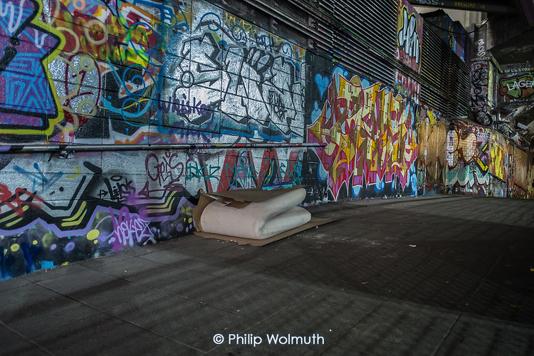 Mattress and cardboard belonging to a rough sleeper, Waterloo, London.