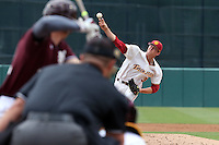 Mason Perryman (34) of the Southern California Trojans pitches against the Mississippi State Bulldogs at Dedeaux Field on March 5, 2016 in Los Angeles, California. Mississippi State defeated Southern California , 8-7. (Larry Goren/Four Seam Images)
