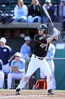 Brannon Champagne, #6, of the Missouri Tigers bats against the North Carolina Tar Heels at Dedeaux Field on February 20, 2011 in Los Angeles,California. Photo by Larry Goren/Four Seam Images